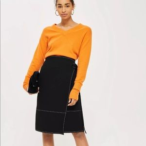 Topshop Stitch wrap skirt